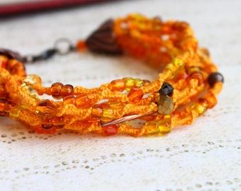 Orange Bracelet, Seed Beaded Bracelet, Macrame Multi strand Boho Bracelet
