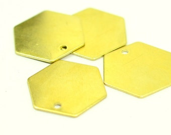 5 Pieces Huge Raw Brass Hexagon Geometric 20x20 mm Stamping Tag , Thickness 0.8 mm