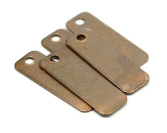 20 Pieces Copper Pleted  10x30 mm Rectangular Stamping Tag 1 Hole