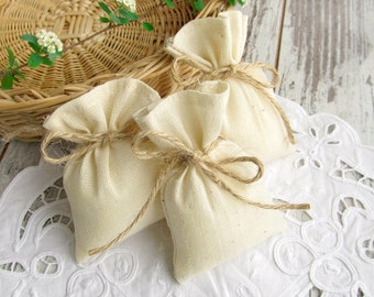 30 Muslin favor bags, small wedding gift bags, ivory candy bags - 3 x 4