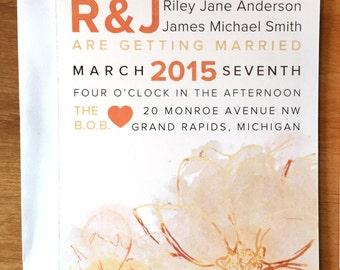 Peach Watercolor Wedding Invitations