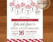 Wedding Anniversary Picnic Party Printable Invitation - Vintage Modern Mason Jars 50th - DIY (Also for 20th, 30th, 40th, 60th) Gingham