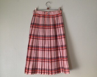 60s Wool Pink sz 26 Flannel Pleated Natural Waist Circle Skirt