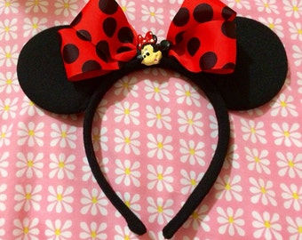 Minnie Mouse Red Polka Dot Bow Minnie Mouse Theme Inspired Headband