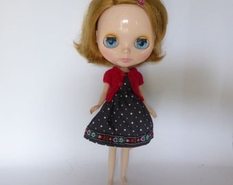 Hand Made Neo Blythe or Bratz Doll Grey Dot with Red Navy Braid Trim and Matching Red Knitted Short Sleeve Cardy