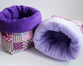 SAVE SHIPPING: 2x cosy cuddle sack / sleeping bag XXL for guinea pigs or hedgehogs (patchwork pink)
