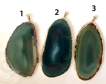 Gold Plated Agate Pendant, Greenl Agate Slice, Agate Pendant, D