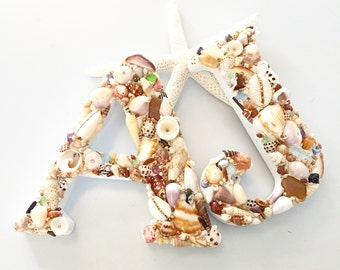 Shell encrusted initial letter decorated in all Kauai shells & sea glass