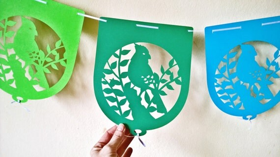 bird paper cut party banner spring 7.7x9.3 inch - 6 pennants