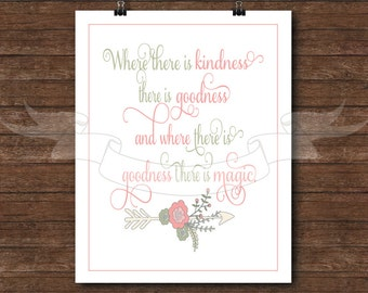 Where there is kindness there is goodness, and where there is goodness there is magic, Cinderella quote, Cinderella, wall print, princess
