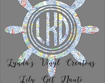 """Lilly Pulitzer """"Get Nauti"""" Inspired Ships Wheel Monogram"""