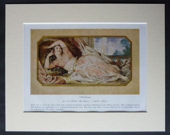 Print of a Turkish Odalisque by Eugene Deveria Victorian harem girl art - Ottoman Empire - Available Framed - Turk Picture - Islamic Woman