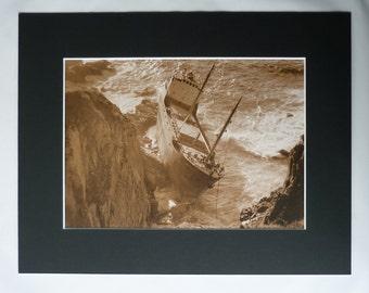 Vintage Shipwreck Print, Nautical Gift, Sepia Sea Decor, Available Framed, Ship Art, Maritime Photography, Nefeli Steam Ship, Land's End Art