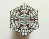 Polymer Clay Cane - LARGE Black, White, and Red Hexagon Polymer Clay Cane