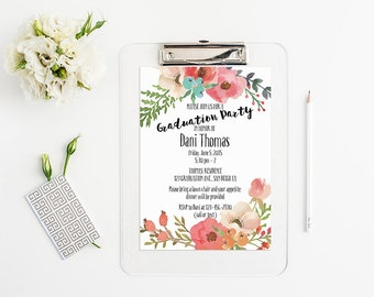 Watercolor Floral Graduation Party Invitation - Digital Watercolor