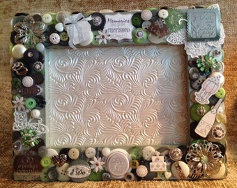 SALE - Traditional Wedding Themed Button Picture Frame
