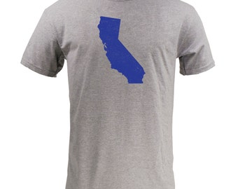 Distressed California State Shape - Sport Grey