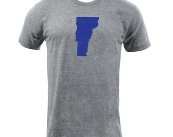 Distressed Vermont State Shape - Athletic Grey