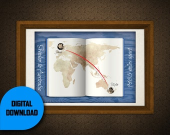 Long Distance Relationship Map - Custom Digital Illustration.