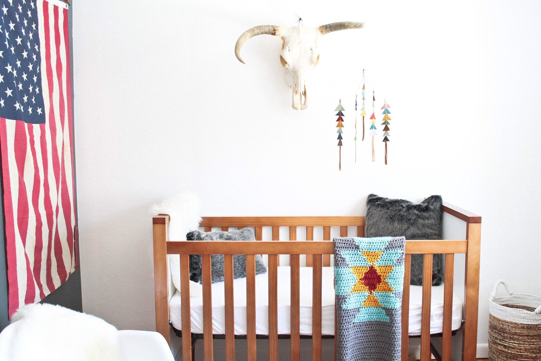 crib size aztec tribal crochet blanket throw baby home knit