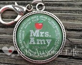 PERSONALIZED TEACHER keychain, Teacher Appreciation, School Gift,  Custom teacher gift, teacher gift personalize
