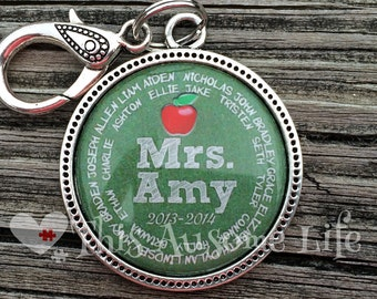 Personalized Teacher Keychain With Students Name and Year/Teacher Appreciation School Gift/Custom Teacher Gift