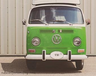1969 VW Bus - Wall Art - Retro Print - Vintage Car Photography - Garage Art - Green - Volkswagon - 8x10