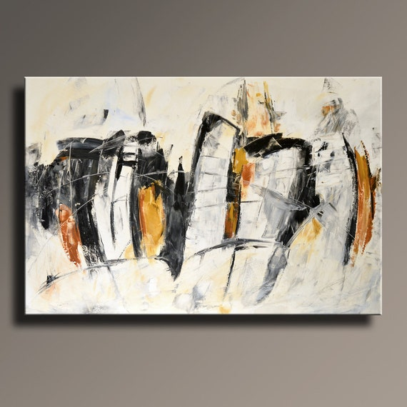 48 large original abstract white yellow gray black for Black white canvas paintings