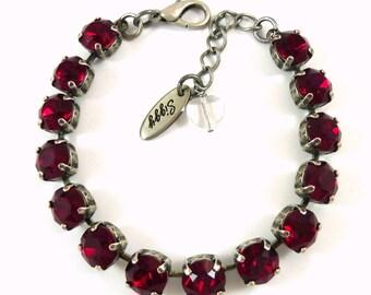 REDILICIOUS, Swarovski crystal bracelet, 8mm ruby red, Valentine's Day Jewelry, Siggy bling