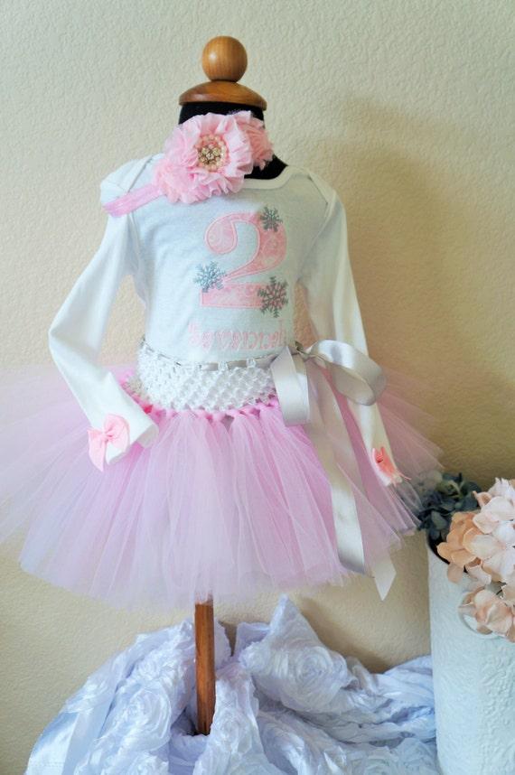 Second Birthday Tutu, body suit, 2nd Birthday, snowflake,Winter Wonderland, pink, silver, headband,  Smash cake out fit, photo prop, Frozen.