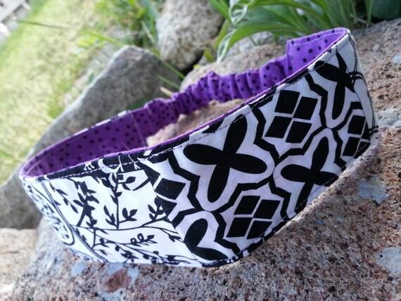 Toddler Purple, Black & White  Headband, Little Girl's Reversible Headband
