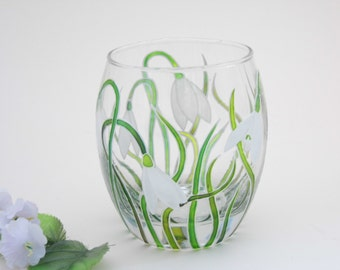 Hand Painted Snowdrops Flower Glass Candle Holder White and Green Made to Order