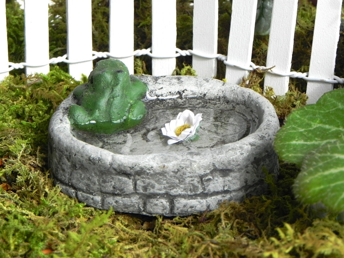 Fairy garden pond miniature with frog and by thelittlehedgerow for Mini garden pool