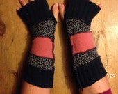Funky Christmas Armwarmers Katwise style Handmade in UK from recycled knitwear. navy and pink