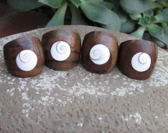 Wood and Sea Shell Ring