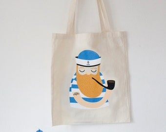 Sailor tote bag. Illustrated motif on unbleached, long handles, organic fairtrade cotton, screen printed.