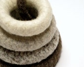 Felted Teething Ring: Stackable 100% Virgin Un-Dyed Wool Eco Friendly Teether Toy - Monochromatic, Made To Order