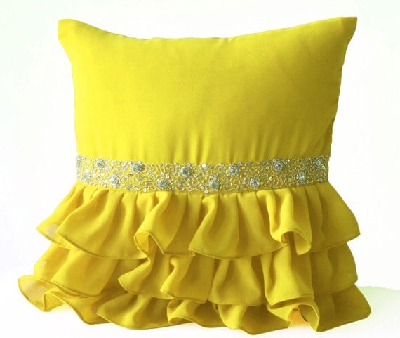 Items similar to Decorative Throw Pillow -16X16 -Accent Pillow -Yellow Cushion Cover -Gift ...