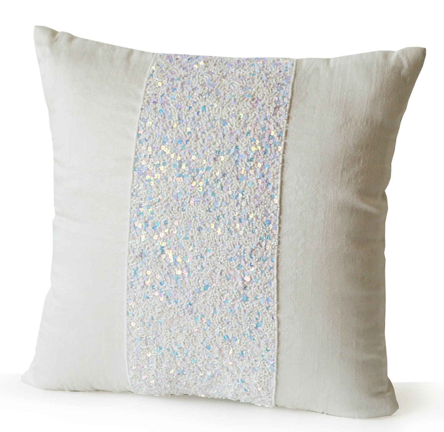 Throw Pillows Ivory White Silk Sparkle Pillow Bead Sequin
