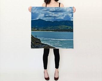 "silk scarf print man fishing ocean coffs harbour 36"""