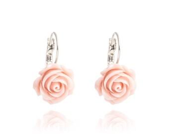 Romantic Cabochon Vintage Pink Rose Earrings