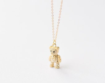 Long Gold necklace with teddy bear