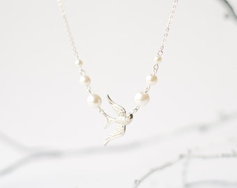 Dove bird necklace with pearls