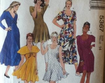 """McCalls Dress Pattern 5367 Size: 14,  Bust 36"""", Waist 28"""", Hip 38"""""""
