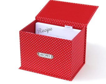 Recipe Box Set with Recipe cards with Dot pattern case