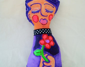 purple lady with flower OOAK mixed media painted cloth art doll purple doll with gems holding flower