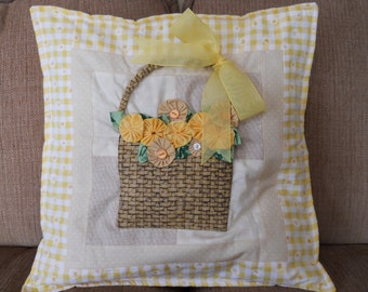 Basket of Flowers Quilted Patchwork Cushion Pillow Cover One of a Kind