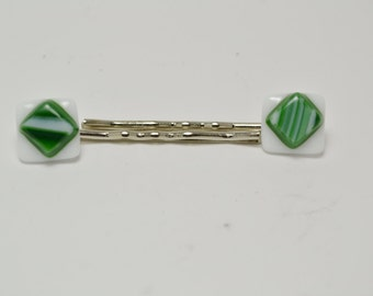 Green and  White Fused Glass Bobby Pins.