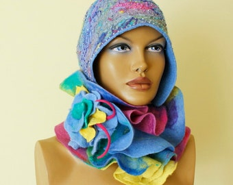 Multicolor frilly scarf Collar nunofelt Silk wool scarf nuno felt Felt Scarf Neck warmer Collar Ruffle felted