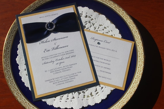 Navy Blue and Gold Wedding Invitations Navy Blue Wedding